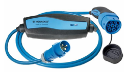 Mennekes 16A Ladekabel Mode 2   Typ 1 / 2 auf CEE Stecker blau   3,7 kW / 1 phasig