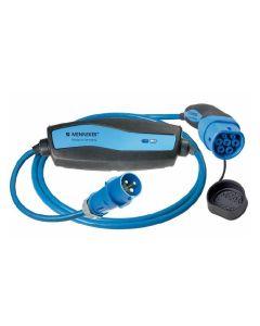 MENNEKES Mode 2 Ladekabel 35203100008 | Mobile Wallbox  / Ladestation Elektroauto | Typ 2 auf CEE blau Stecker | 3,7 kW | 16A | 230V | 1 phasig | 8m | ehemals 35123