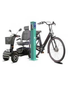 SL2 Ebike charger electric bike charging station bicycle charging ground mounting column 1 x protective contact socket 2 x USB