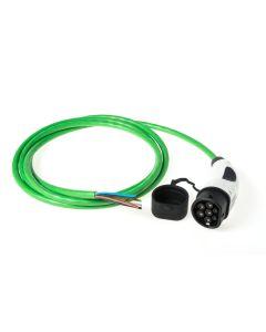Walli | Do | Ladekabel Elektroauto |  Typ 2 Ende offen | Wallbox Anschluss | 11kW | 16A | 400V | 3 phasig | Länge individuell | grün