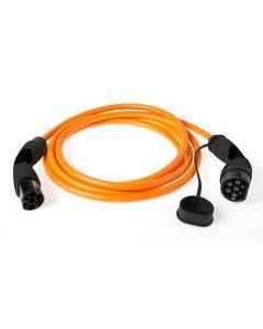 Walli BA Stecker Typ 2 Ladekabel Elektroauto Mode 3 Adapter Typ 2 auf Typ 2 Stecker 22kW 32A  400V 3 phasig orange