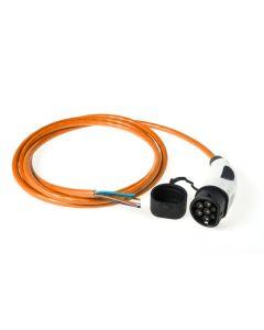 Walli | DO Stecker | Ladekabel Elektroauto |  Typ 2 Ende offen | Wallbox Anschluss | 11kW | 16A | 400V | 3 phasig | Länge individuell | orange