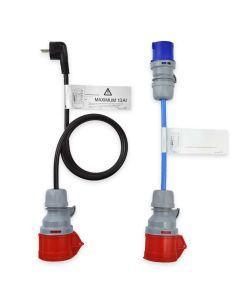 NRGkick 20207 CEE Kabel Adapter Schuko Stecker Adapterset 16A rot auf 16A blau Camping rot und Schutzkontakt Stecker 3,7 kW 230V 1 phasig 2 teilig