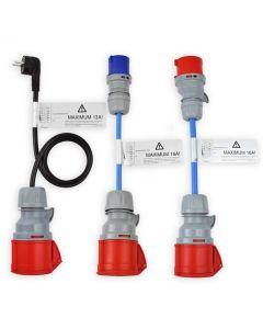 NRGkick 20215 CEE Kabel Adapter Schuko Stecker Adapterset 32A rot auf 16A blau Camping rot und Schutzkontakt Stecker 3,7 kW 11kW 1 phasig 3 phasig 3 teilig