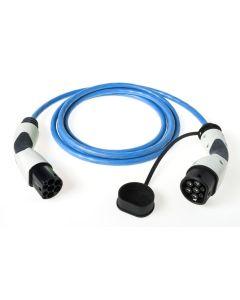 Walli BA Stecker Typ 2 Ladekabel Elektroauto Mode 3 Adapter Typ 2 auf Typ 2 Stecker 11kW 16A  400V 3 phasig blau